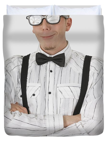 Man Wearing Sunglasses Suspenders And Duvet Cover by Stock Foundry