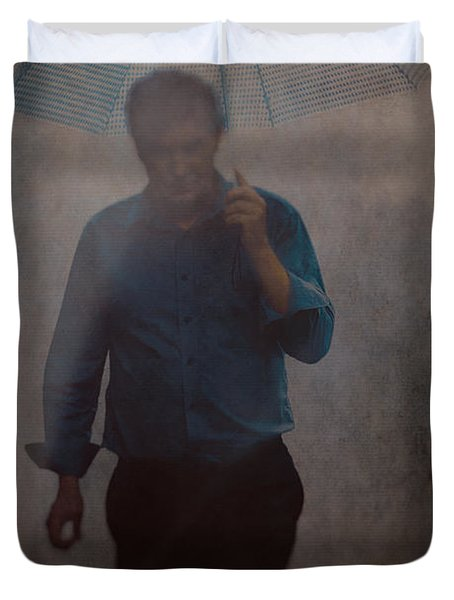 Man With An Umbrella Duvet Cover
