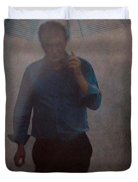 Man With An Umbrella Duvet Cover