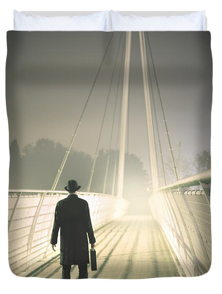 Duvet Cover featuring the photograph Man With Case On Bridge by Lee Avison