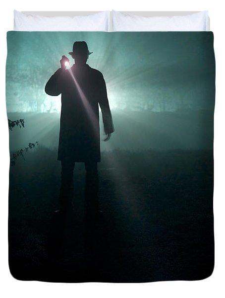 Duvet Cover featuring the photograph Man With Flashlight  by Lee Avison