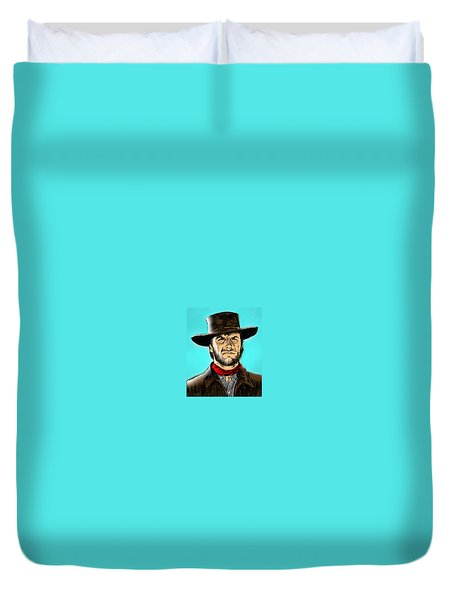 Duvet Cover featuring the mixed media Clint Eastwood by Salman Ravish