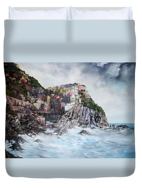 Duvet Cover featuring the painting Manarola Italy by Jean Walker