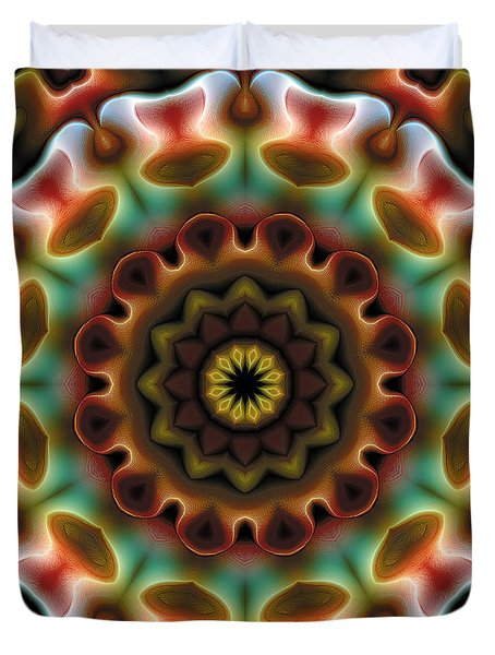 Duvet Cover featuring the digital art Mandala 74 by Terry Reynoldson