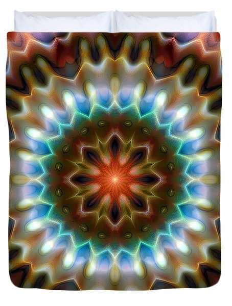 Duvet Cover featuring the digital art Mandala 79 by Terry Reynoldson