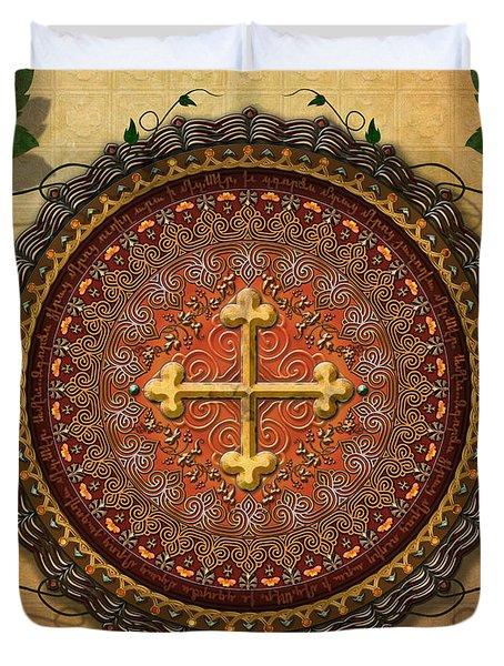 Mandala Armenian Cross Sp Duvet Cover by Bedros Awak