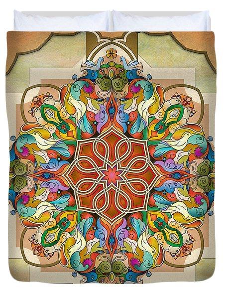 Mandala Birds Sp Duvet Cover by Bedros Awak