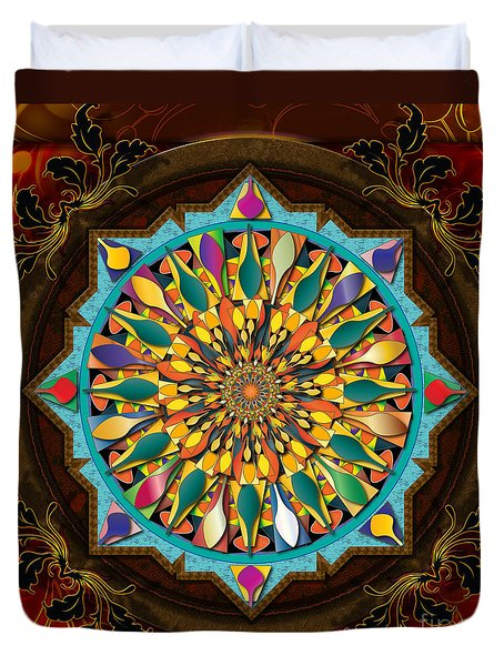 Mandala Droplets Duvet Cover by Bedros Awak