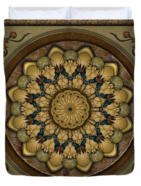 Mandala Earth Shell Sp Duvet Cover by Bedros Awak