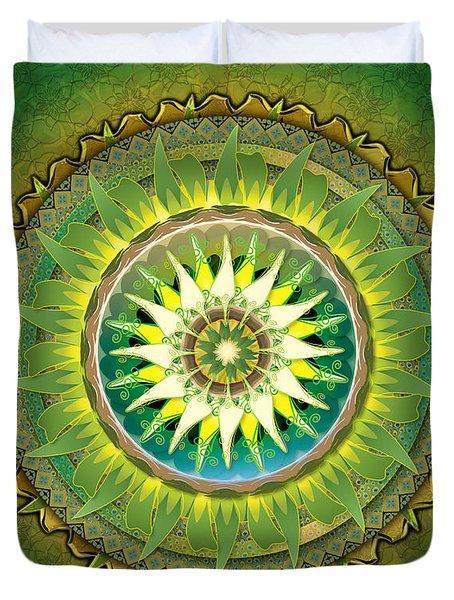 Mandala Green Sp Duvet Cover by Bedros Awak