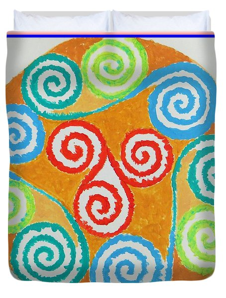 Duvet Cover featuring the painting Mandala by Sonali Gangane
