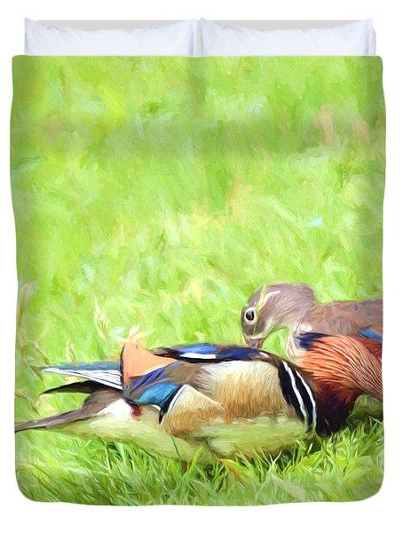 Mandarin Duck Couple Duvet Cover