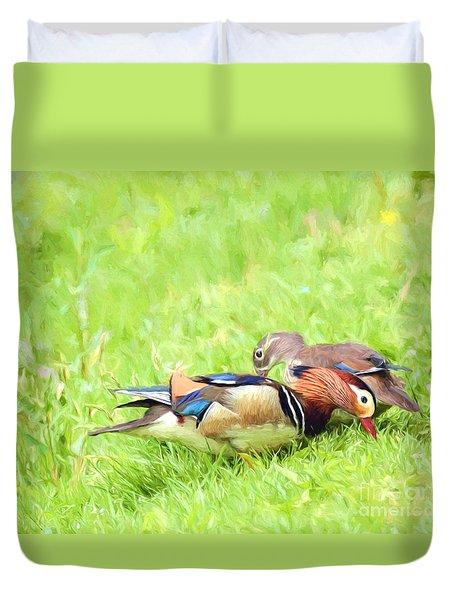 Mandarin Duck Couple Duvet Cover by Kerri Farley