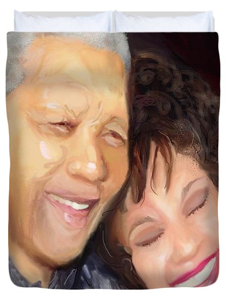 Duvet Cover featuring the painting Mandela And Whitney by Vannetta Ferguson