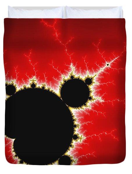 Mandelbrot Fractal Art Black White And Bold Red Duvet Cover by Matthias Hauser