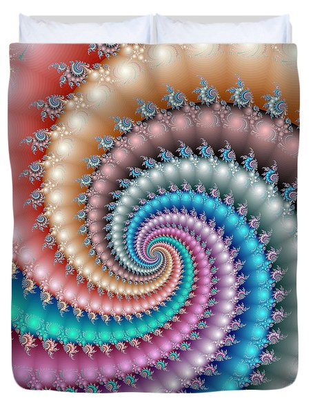 Duvet Cover featuring the digital art Mandelbrot Fractal Spyral by Svetlana Nikolova
