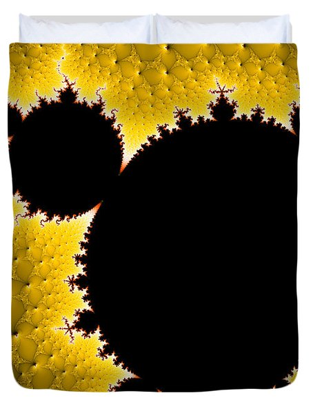 Mandelbrot Set Black And Yellow Fractal Art Duvet Cover
