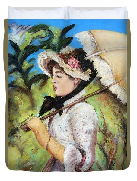 Duvet Cover featuring the pastel Manet Woman With Parasol by Melinda Saminski