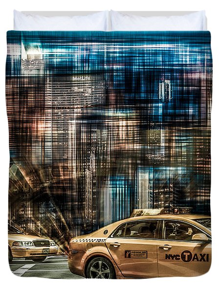 Manhattan - Yellow Cabs - Future Duvet Cover by Hannes Cmarits