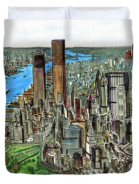 New York Downtown Manhattan 1972 Duvet Cover