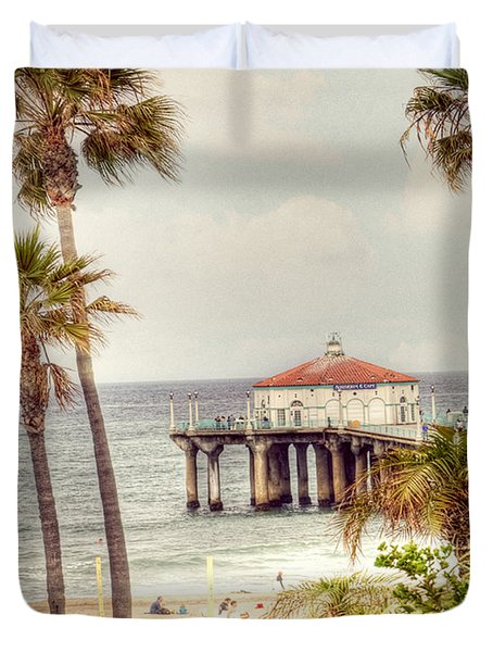 Manhattan Beach Pier Duvet Cover by Juli Scalzi