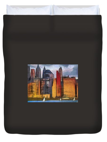 Beautiful City Manhattan Digital Painting Duvet Cover