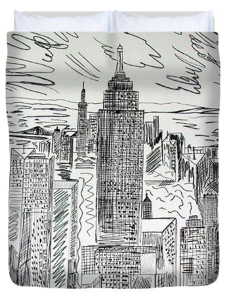 Duvet Cover featuring the drawing Manhattan by Janice Rae Pariza