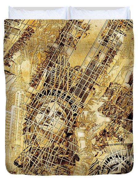 Manhattan Map Antique Duvet Cover by Bekim Art