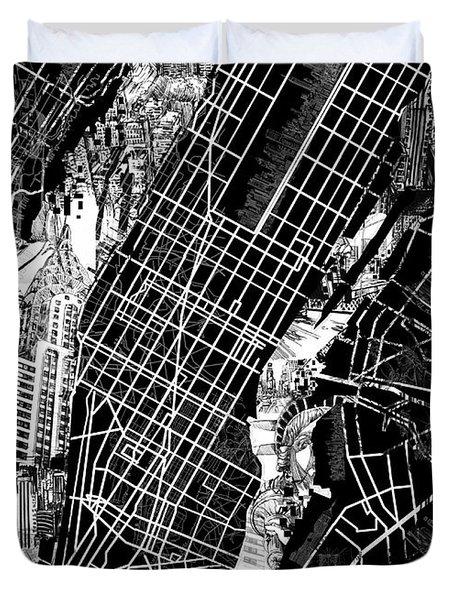 Manhattan Map Black And White Duvet Cover
