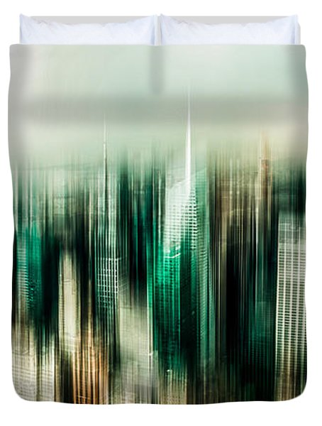 Manhattan Panorama Abstract Duvet Cover by Hannes Cmarits