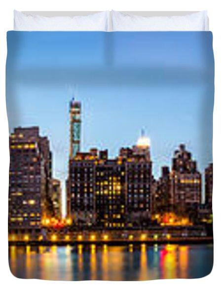 Manhattan Panorama And Queensboro Bridge Duvet Cover