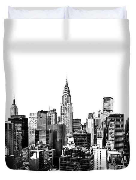 Manhattan Skyline Duvet Cover by Diane Diederich