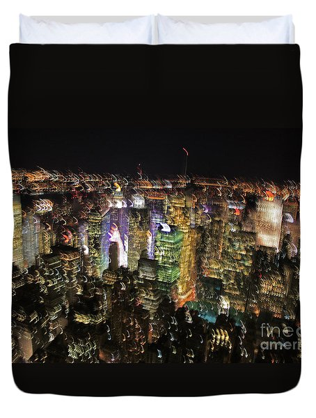 Duvet Cover featuring the photograph Manhattan Skyline Empire State Wobbles by Andy Prendy