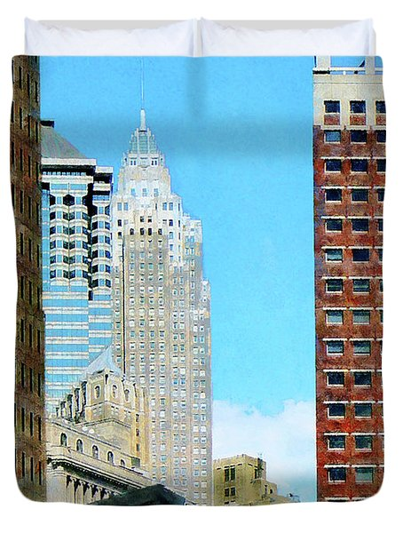 Manhattan Skyscrapers Duvet Cover by Susan Savad