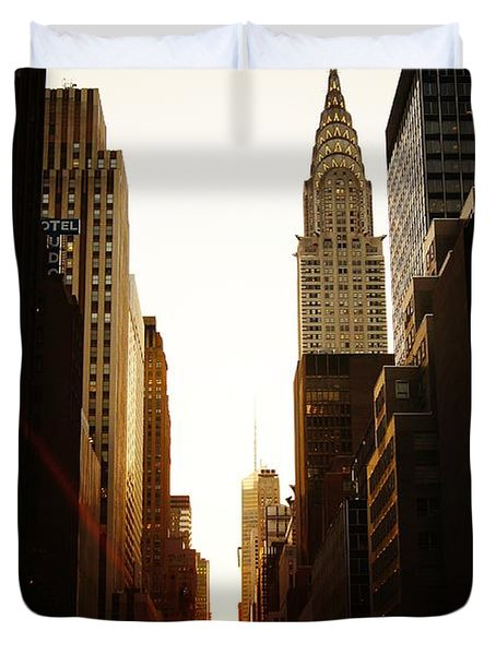 Manhattanhenge Sunset And The Chrysler Building  Duvet Cover by Vivienne Gucwa