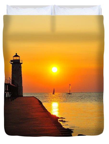Manistee Lighthouse Sunset Duvet Cover