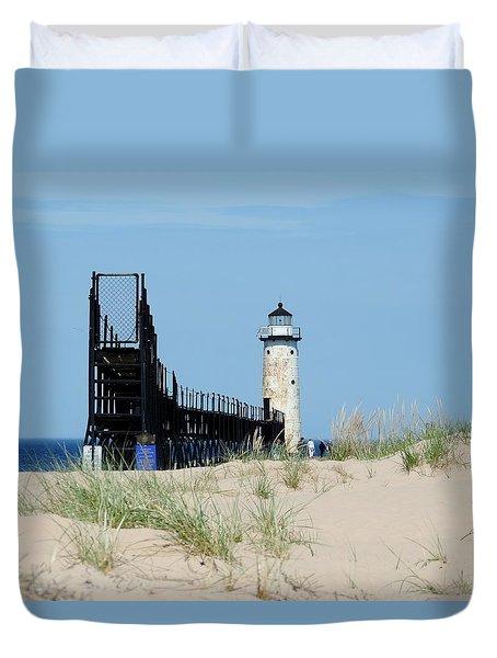 Manistee North Pierhead Lighthouse Duvet Cover