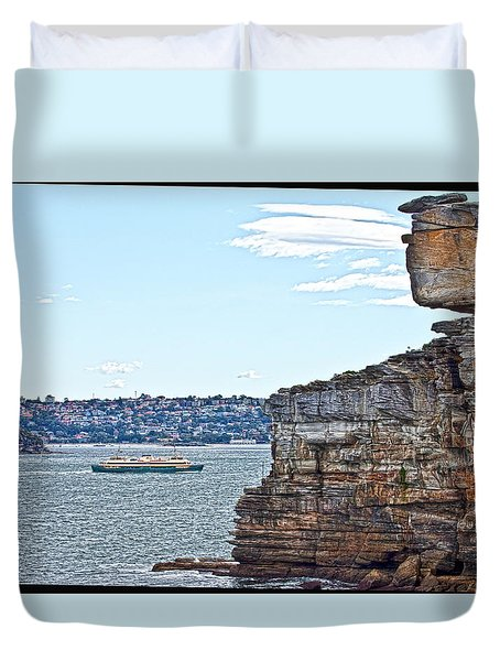 Duvet Cover featuring the photograph Manly Ferry Passing By  by Miroslava Jurcik