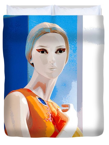 Duvet Cover featuring the photograph Mannequin In Orange  by Art Block Collections