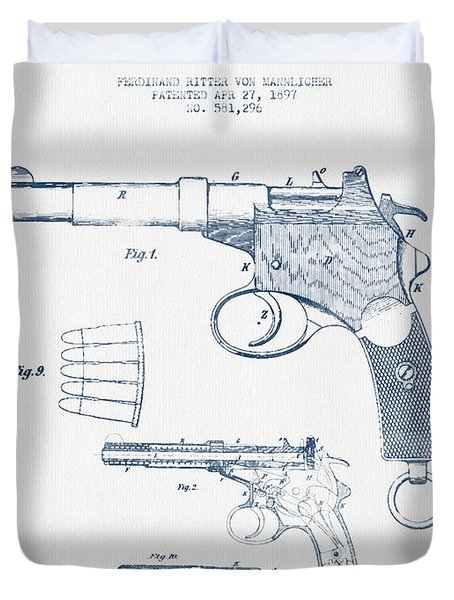 Mannlicher Pistol Patent Drawing From 1897  -  Blue Ink Duvet Cover