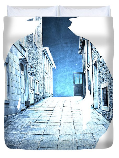 Man's Profile Silhouette With Old City Streets Duvet Cover by Edward Fielding