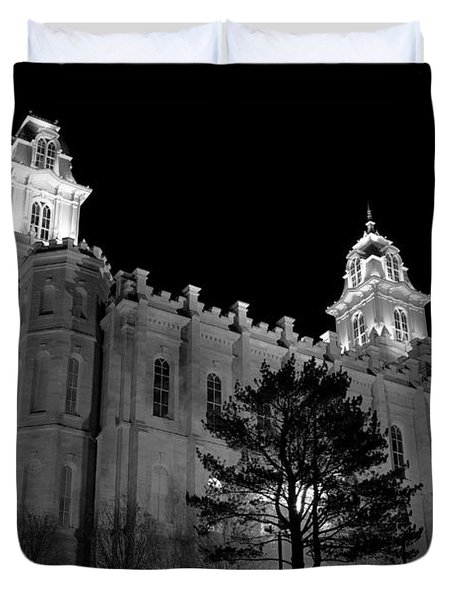Manti Temple Black And White Duvet Cover