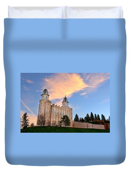 Manti Temple Morning Duvet Cover