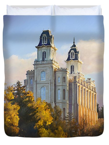 Manti Temple Duvet Cover by Rob Corsetti
