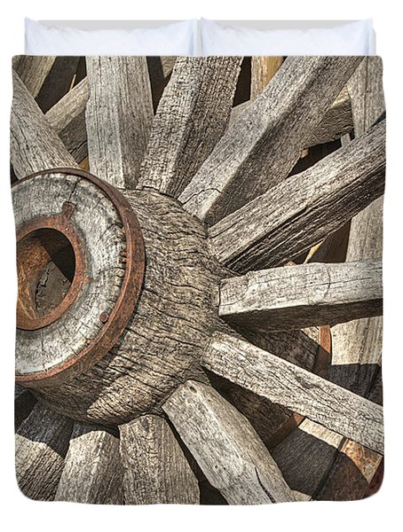 Many Wooden Wheels Duvet Cover by Phyllis Denton