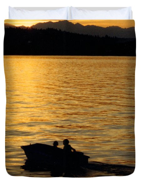 Manzanita Bay Washington Sunset Cruising Duvet Cover by Jack Pumphrey