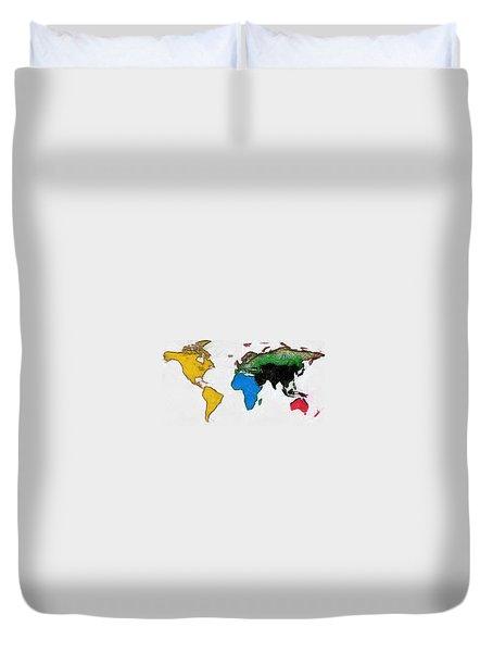 Map Digital Art World Duvet Cover