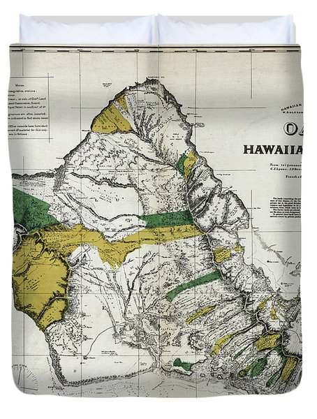 Map Oahu, 1881 Duvet Cover