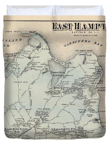 Map Of East Hampton 1873 Duvet Cover