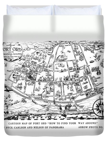 Map Of Fort Ord Army Base Monterey California Circa 1950 Duvet Cover